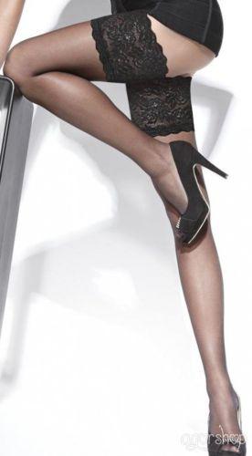 Siyah Düz Silikonlu Dantelli Jartiyer Çorap