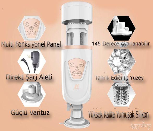 Easy Love Telescopic İleri Geri Hareket Özellikli Vantuzlu Otomatik Masturbator