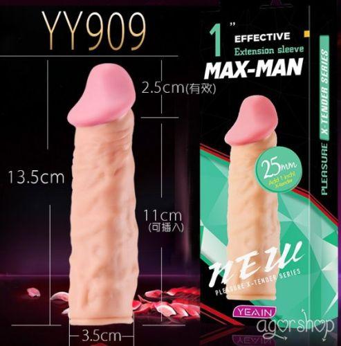 Yeain Max Man 2,5cm Uzatmalı Realistik Dokuda Penis Kılıfı