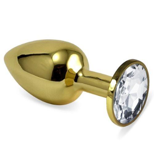 Erox Gold Small Beyaz Kristal Taşlı Metal Anal Plug