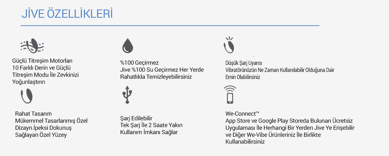We-Vibe Jive Giyebilir Uygulama İle Heryerden Kontrol Edilebilen Titreşim Vibratör